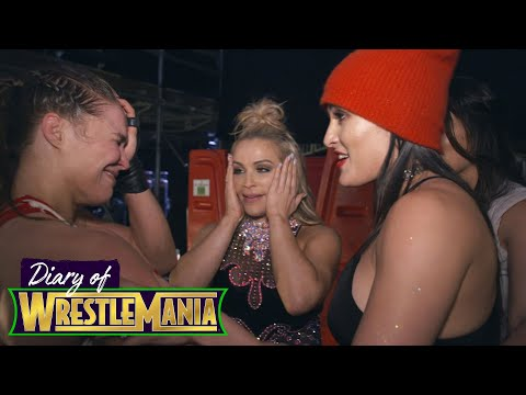RONDA ROUSEY'S EMOTIONAL CELEBRATION with The Bella Twins - Diary of WrestleMania