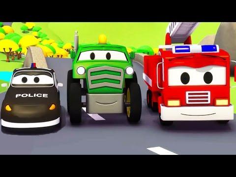 Mobil patroli: Truk Pemadam Kebakaran dan Mobil Polisi dan Traktor di Kota Mobil   Kartun Mobil