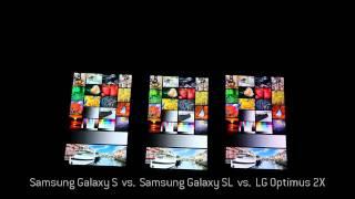 lG Optimus 2X, Samsung I9003 Galaxy SL and Samsung I900 Galaxy S dispaly comparison