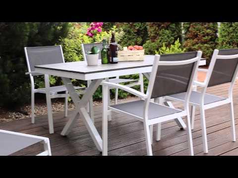 Ogrodowy zestaw aluminiowy Toulouse stół i 4 krzesła sztaplowane