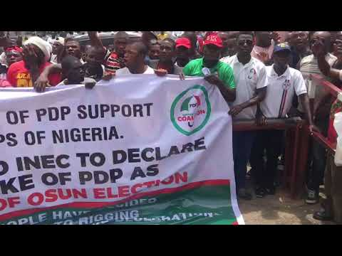 Osun Election: Protesters Storm INEC Office In Abuja (Watch Video)