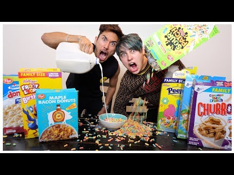 EATING All The WEIRD Cereals with Colby Brock  (TASTE TEST) thumbnail