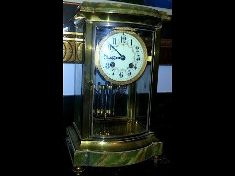 French Mantel Clock Brass And Green Onyx