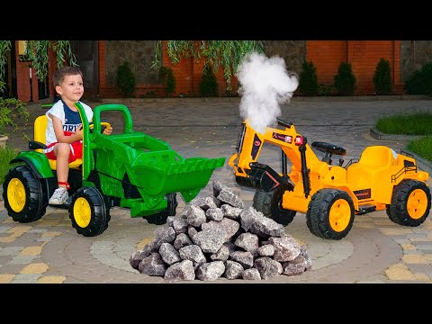 Funny Baby ride on Excavator Unboxing and Assembling Power Wheel JCB Tractor Video for children