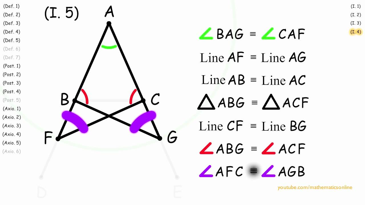 I 5 Base Angles Of An Isosceles Triangle Are Congruent