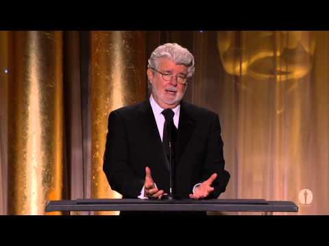 George Lucas honors Angelina Jolie at the 2013 Governors Awards