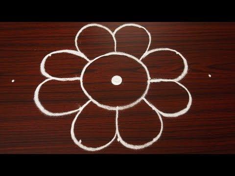 Simple birds rangoli design with 7X1 dots | beautiful kolam designs | easy muggulu for beginners