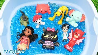 Learn Characters Superman, Disney Cars, Peppa Pig, Pj Masks in Pool For Kids Toys Fun