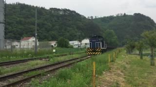 岩手開発鉄道 長安寺での貨物列車の交換風景