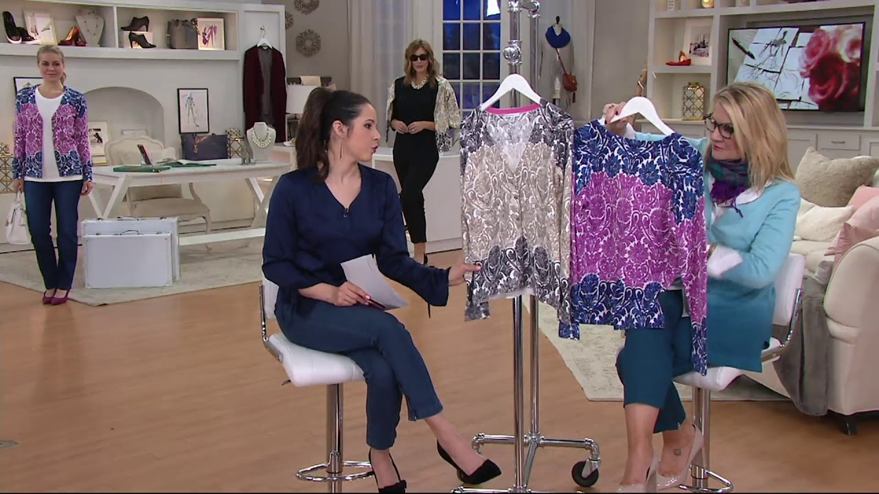 fba7d86c13e Isaac Mizrahi Live! Engineered Damask Printed Cardigan on QVC - YouTube