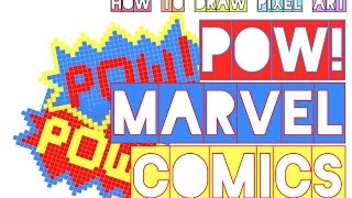 how to draw pow! marvel comics | pop art | action comic balloon doodle | pixel art perler beads