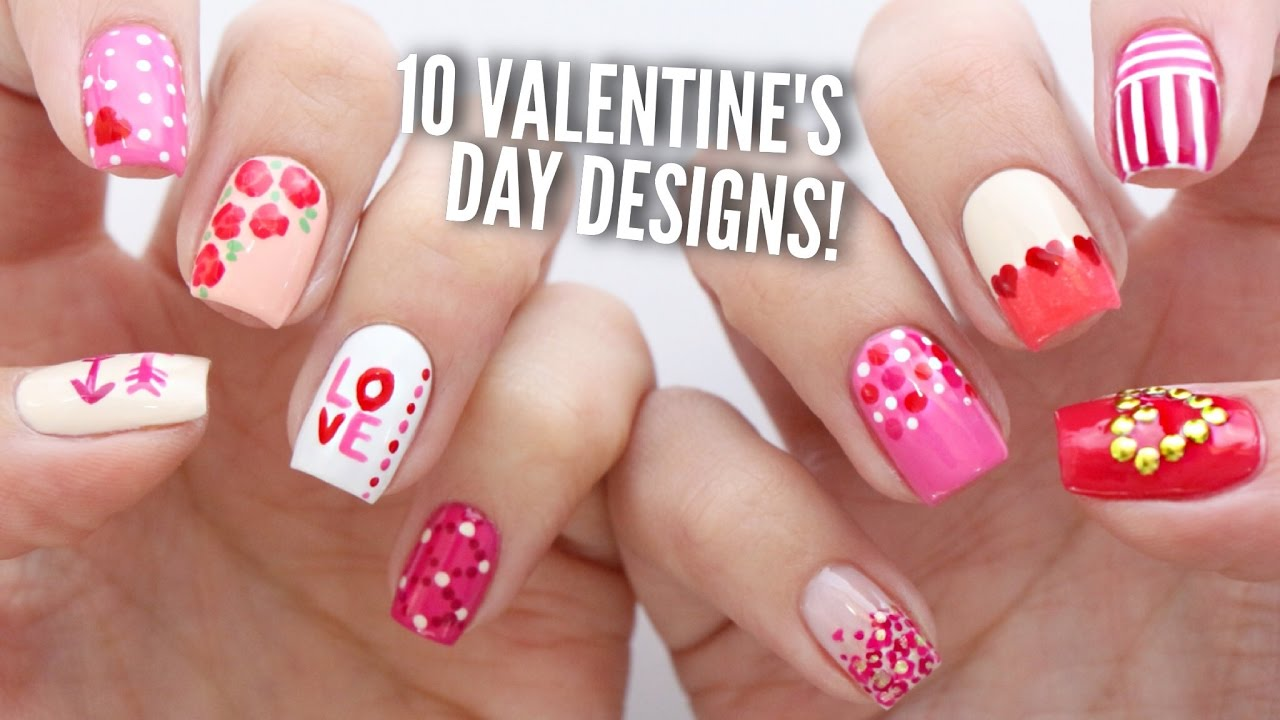 10 Valentineu0027s Day Nail Art Designs | The Ultimate Guide #2!   YouTube