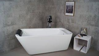 Acrylic soaking bathtub black color bathroom tub portable bathtub with comfortable pillow  C6011W