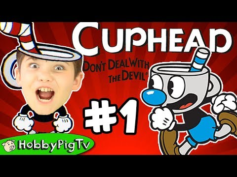 Cuphead Level One Forest Follies Run n Gun! Hardest Video Game EVER! HobbyPigTV