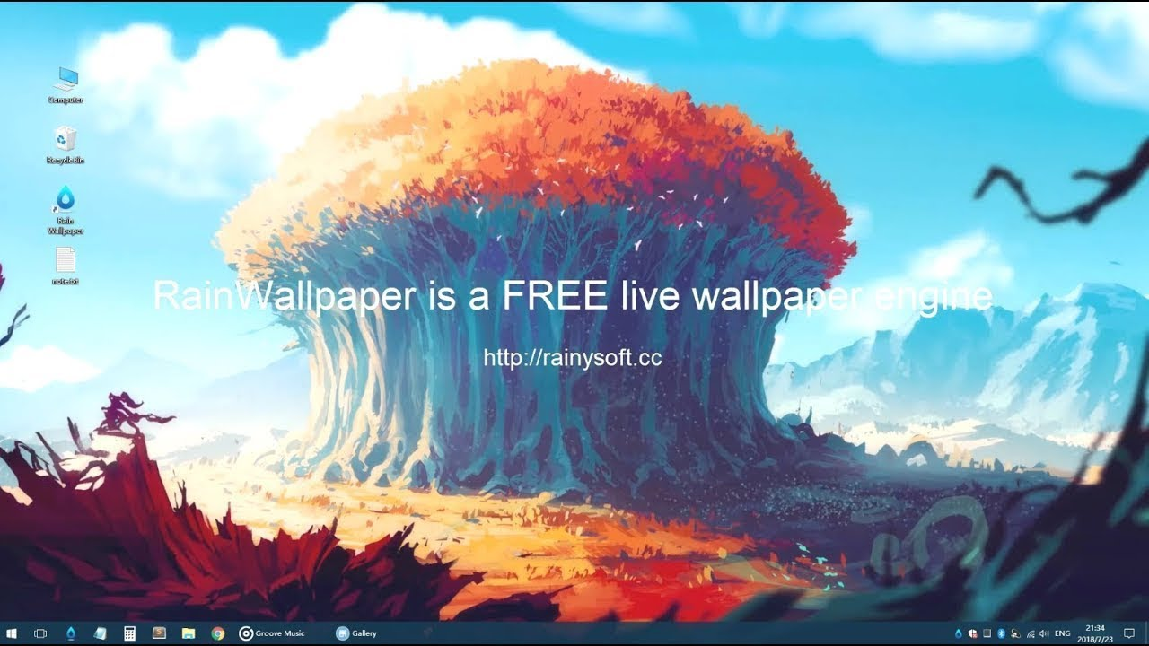 Set Live Wallpapers Animated Desktop Backgrounds in Windows 10 - RainWallpaper - YouTube
