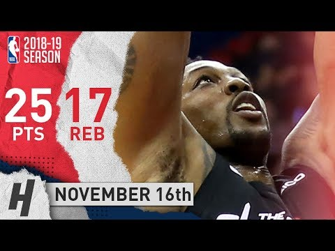 Dwight Howard Full Highlights Wizards vs Nets 2018.11.16 - 25 Pts, 17 Rebounds!