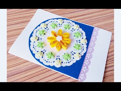 DIY Paper quilling Flower Card Design 36 // Quilling flower card // Greeting Card