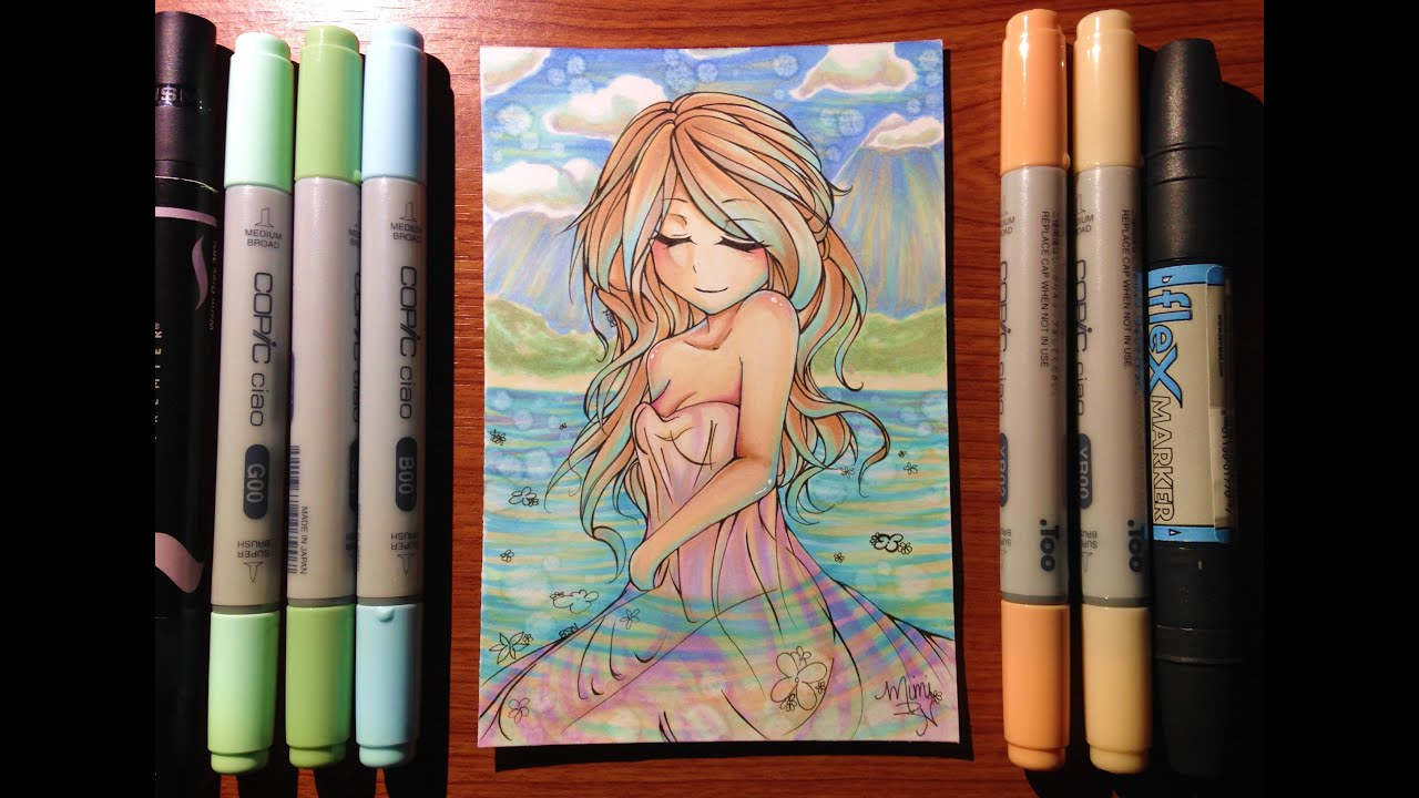 Copic Marker Drawing: Water Nymph - YouTube
