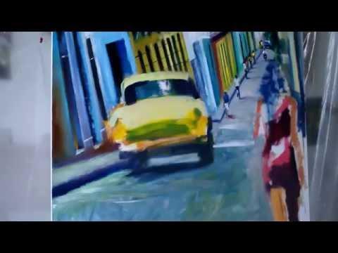 """""""Walking through Santiago de Cuba"""" - Time Lapse Oil Painting Demo Cuba"""