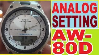 setting casio aw 80d 7a analog time   how to set aw 80d manual for use analog time