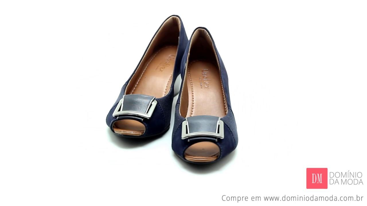 b5ed9bf2e Sapato Peep Toe Usaflex Care Joanetes Couro Azul Q6672 | Loja Online  Domínio da Moda