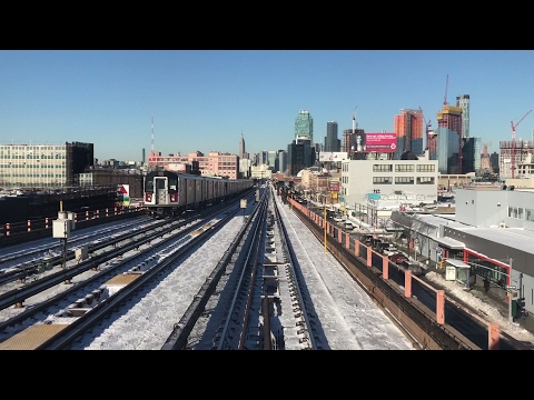 NYC Subway HD 60fps: R62A 7 Train Snowy Railfan Window Ride (Junction Blvd to Hudson Yards) 2/10/17