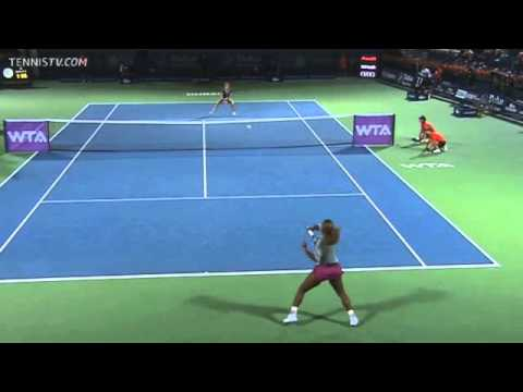 Alize Cornet Hits Incredible Lob vs. Serena Williams Dubai 2014 SF