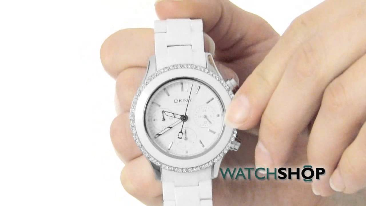 8b08a59c8 Ladies' DKNY Chambers Ceramic Chronograph Watch (NY8672) - YouTube