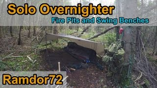 Solo Overnighter In The Forest - Wild Camp With Fire Pits And A Bushcraft Hanging Swing Bench