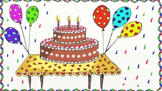 Drawing a simple birthday cake | How to draw cake | Drawing for kids
