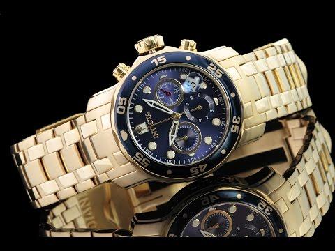 Invicta 21923 48mm Pro Diver Scuba Quartz Chronograph 18kt Gold Plated Bracelet Watch
