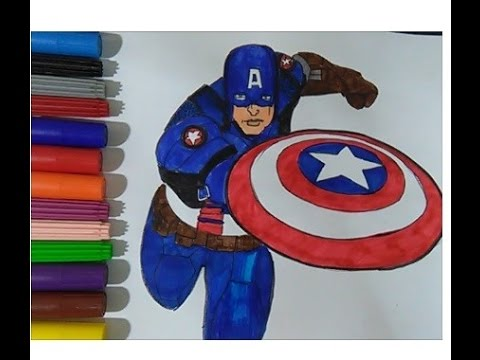 Captain America Coloring book colouring pages for kids movie Learn ...