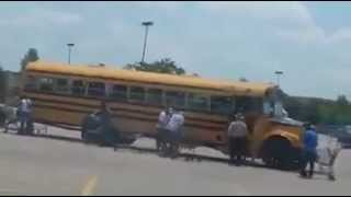 Migrant workers with EBT cards in school buses arrive at NC Wal-Mart