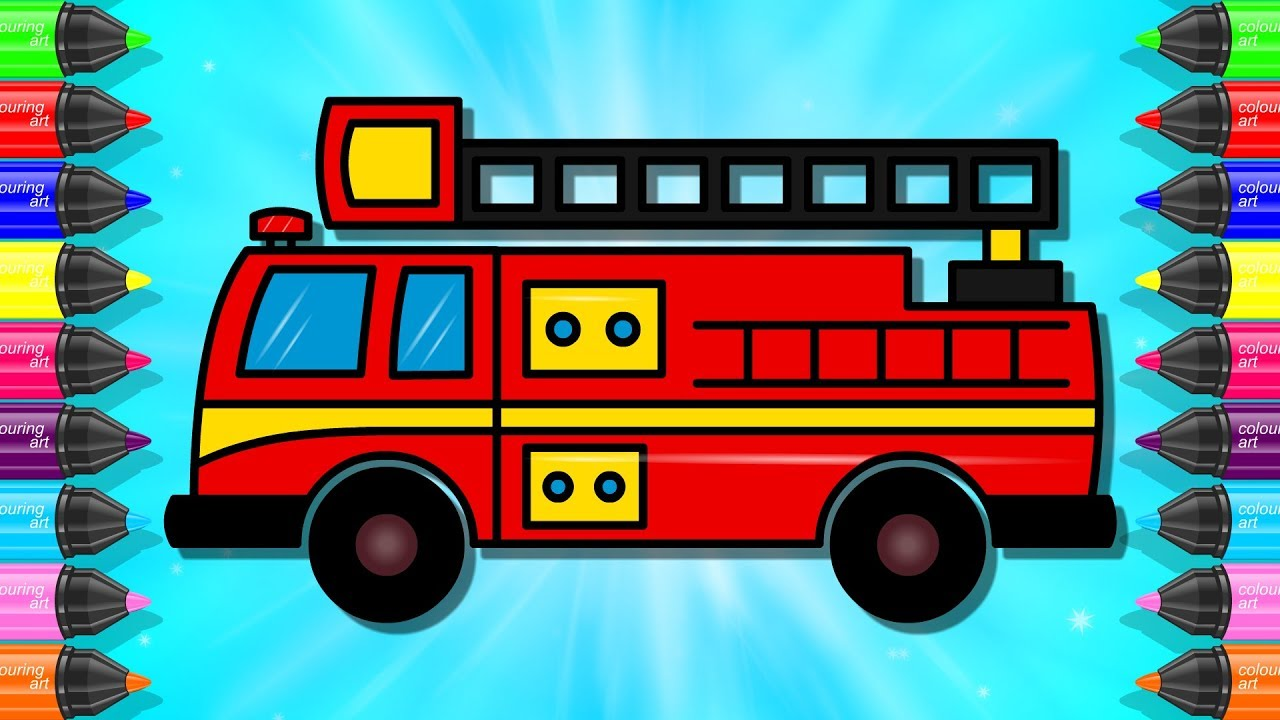 How To Draw Fire Truck For Kids Emergency Vehicles