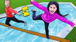 LAST TO FALL OFF PLANK Into POOL WINS $10,000 MYSTERY BOX Of NINJA GADGETS