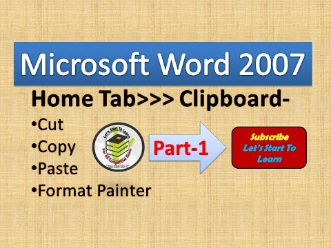 MS Word 2007 Tutorial in Hindi- Home Tab - Clipboard Block Part-1