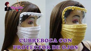 Mascarilla, tapaboca o cubre boca con protector de ojos paso a paso tejido a crochet