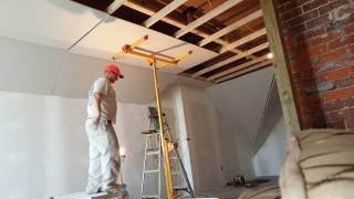 How to hang a 9ft drywall ceiling by yourself...by the MasterCraftsman Brian J Fair.