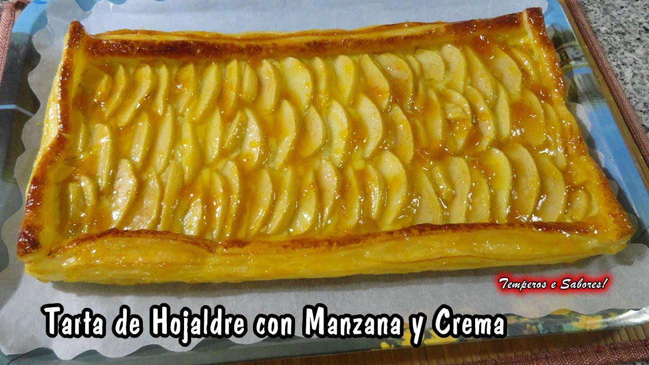 Tarta de hojaldre con manzana y crema magn fica youtube - Pure de castanas y manzana ...
