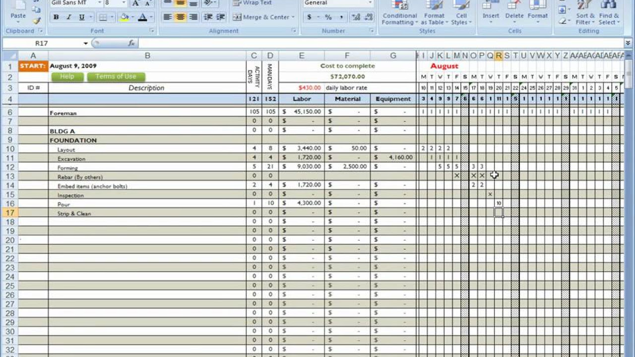 construction cost breakdown sheet cost estimating