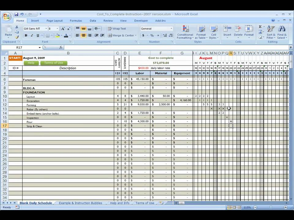 Construction Cost to complete using Excel YouTube – Construction Work Schedule Templates Free
