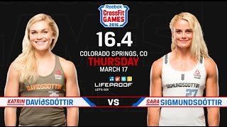 Repeat youtube video CrossFit Open 16.4 - KATRIN DAVIDSDOTTIR vs SARA SIGMUNDSDOTTIR
