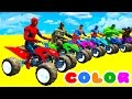 LEARN COLORS with ATV on BUS & Cars Spiderman Cartoon for Kids w Superheroes for babies