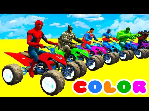 Thumbnail: LEARN COLORS with ATV on BUS & Cars Spiderman Cartoon for Kids w Superheroes for babies