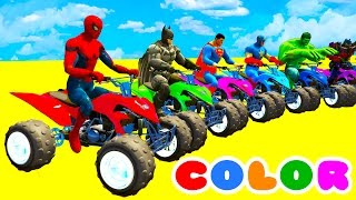learn colors with atv on bus cars spiderman cartoon for kids w superheroes for babies