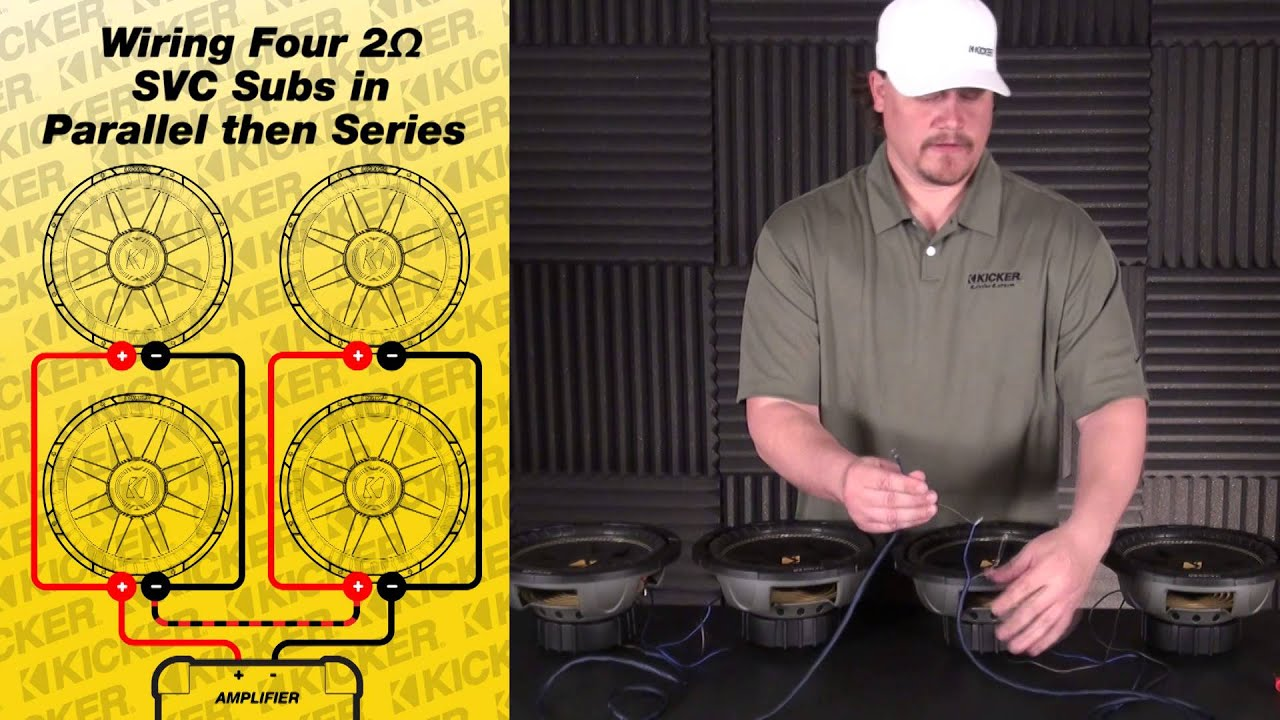 Subwoofer Wiring: Four 2 Ohm SVC Subs in Parallel  Series