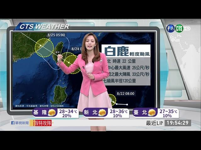 估明晨發布海警 週六晨暴風圈觸陸 | 華視新聞 20190822