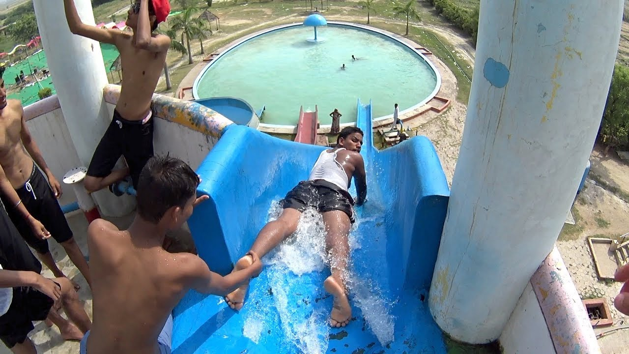 Blue Whale Water Slide at Sports Village Kanpur