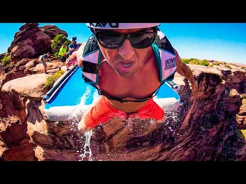 Slip and Slide off 500 Foot Cliff!!! In 4K!