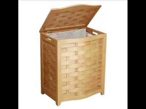 Bowed Front Veneer Laundry Wood Hamper with Interior Bag, Mahogany Finished; wood laundry hamper